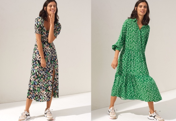 image: H&M – the new collections of dresses – more feminine, more motley and ideal for combination with canvas shoes